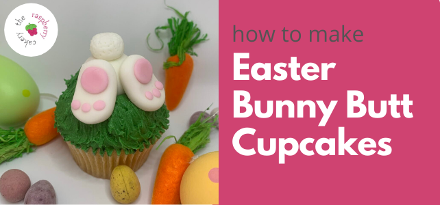 Easter bunny butt cupcake tutorial by The Raspberry Cakery, School of Cake