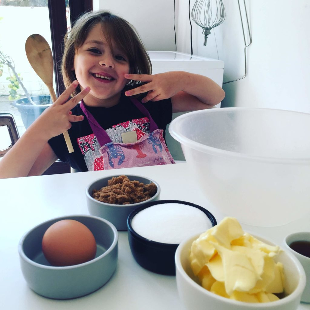 Evie ready to The Raspberry Cakery bake cookie pops recipe