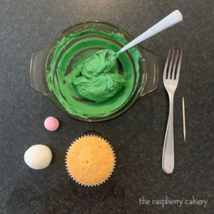 Equipment needed to make Bunny Butt Easter cupcakes